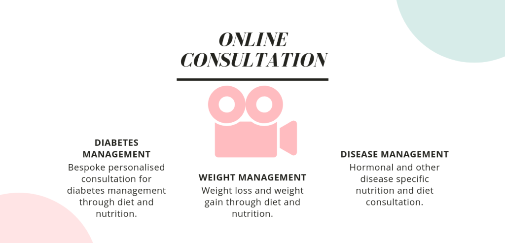 Types of online consultation offered: Diabates management - Bespoke personalised consultation for diabetes management through diet and nutrition. Weight management - Bespoke personalised consultation for weight loss or weight gain through diet and nutrition. Disease management - Bespoke personalised consultation for Hormonal and other disease management through diet and nutrition.